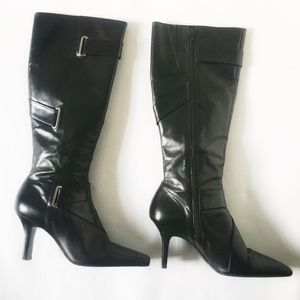 GIANNI BINI Black Leather Boots Size 7M